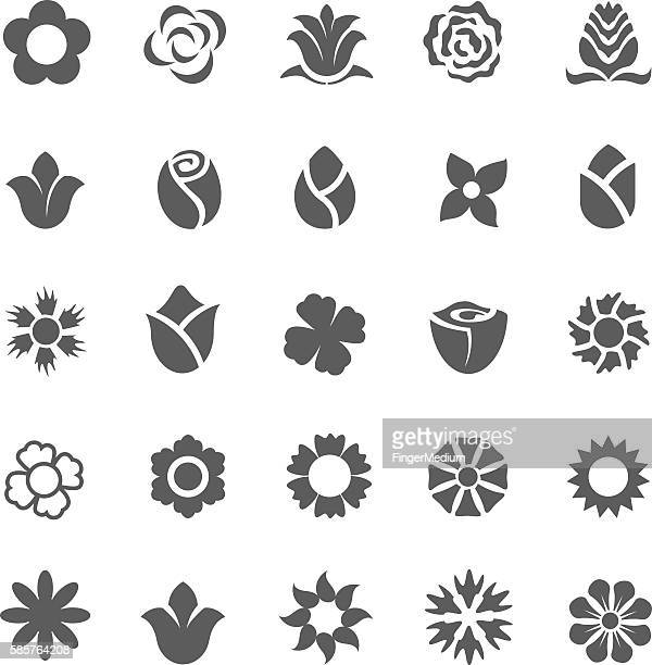 flower icon set - rose flower stock illustrations, clip art, cartoons, & icons