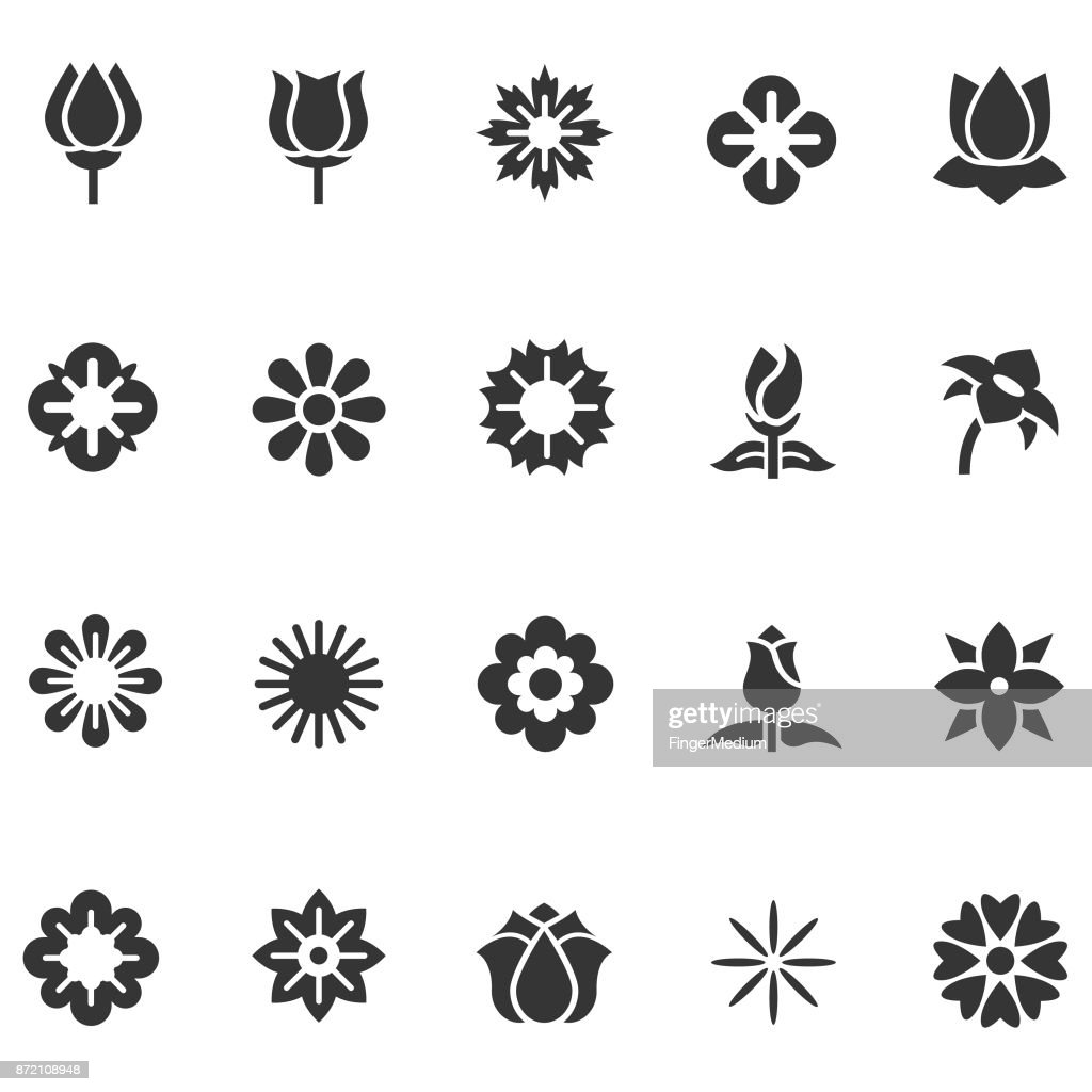 Flower icon set : stock illustration