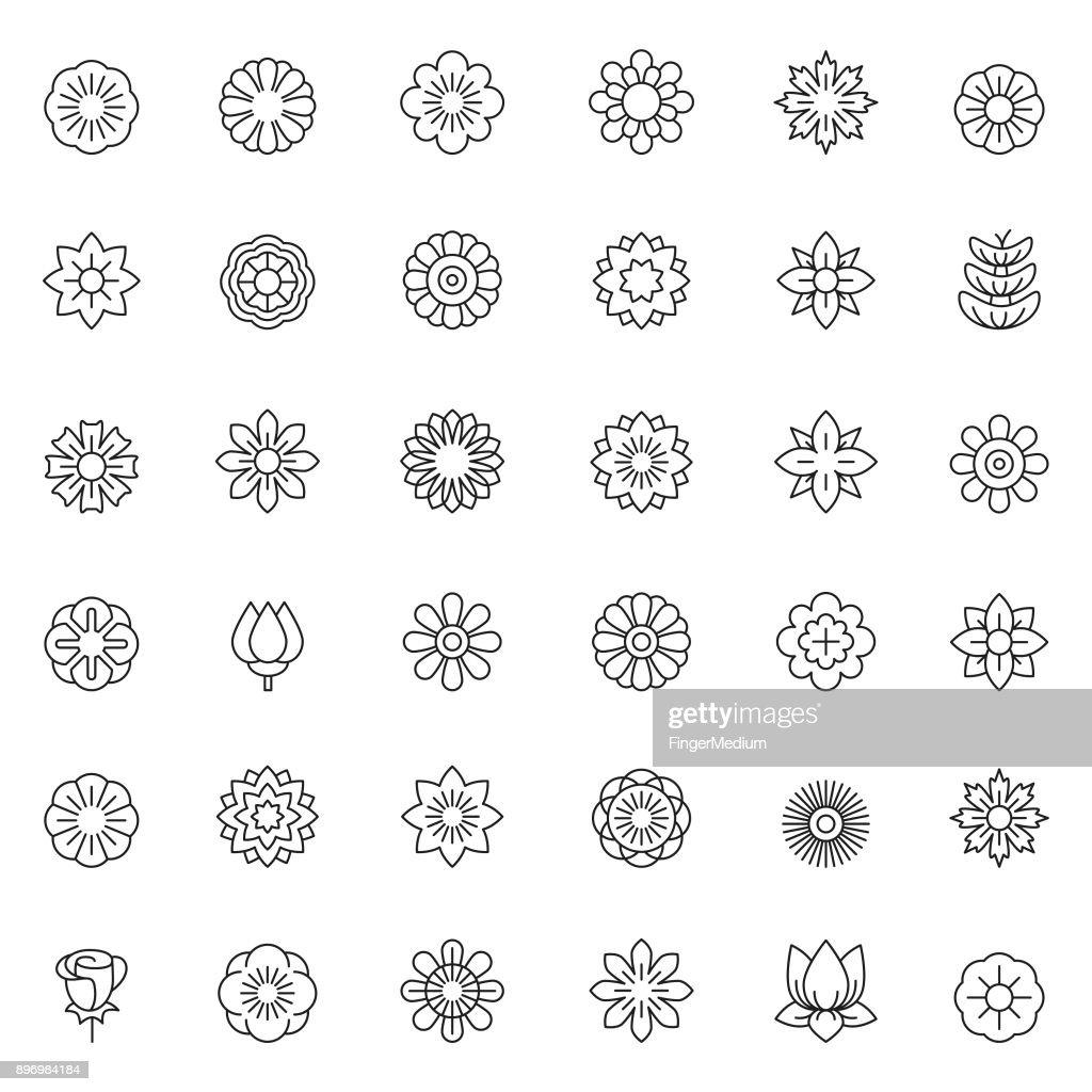 Conjunto de ícones de flor : Ilustração