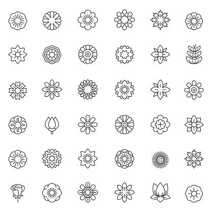 Flower icon set - gettyimageskorea