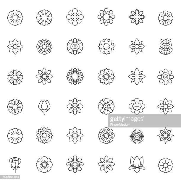 flower icon set - flower stock illustrations
