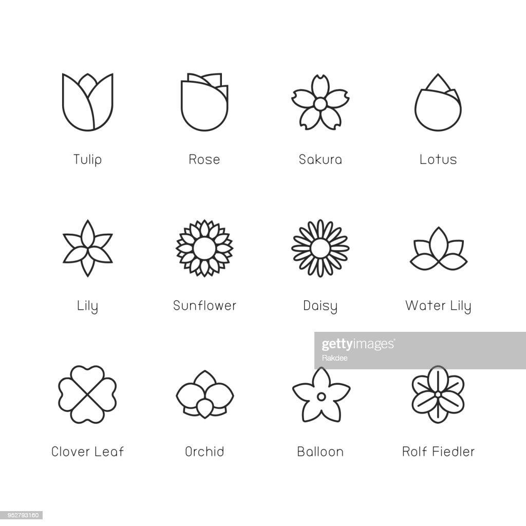 Blume-Symbol - Thin Line Serie : Stock-Illustration