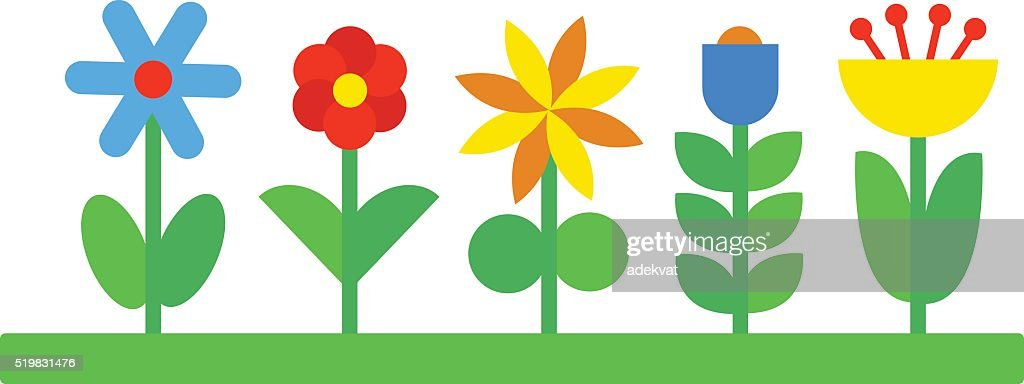 Flower icons colorful plants nature flat vector