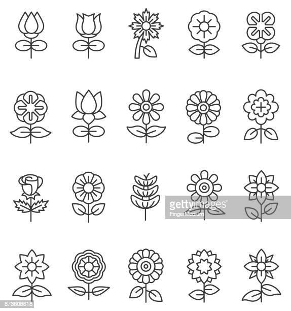 illustrations, cliparts, dessins animés et icônes de icônes de fleur - tournesol