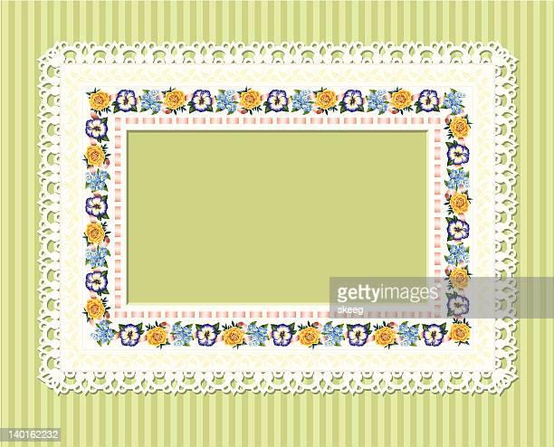 flower lacy frame - rectangle stock illustrations