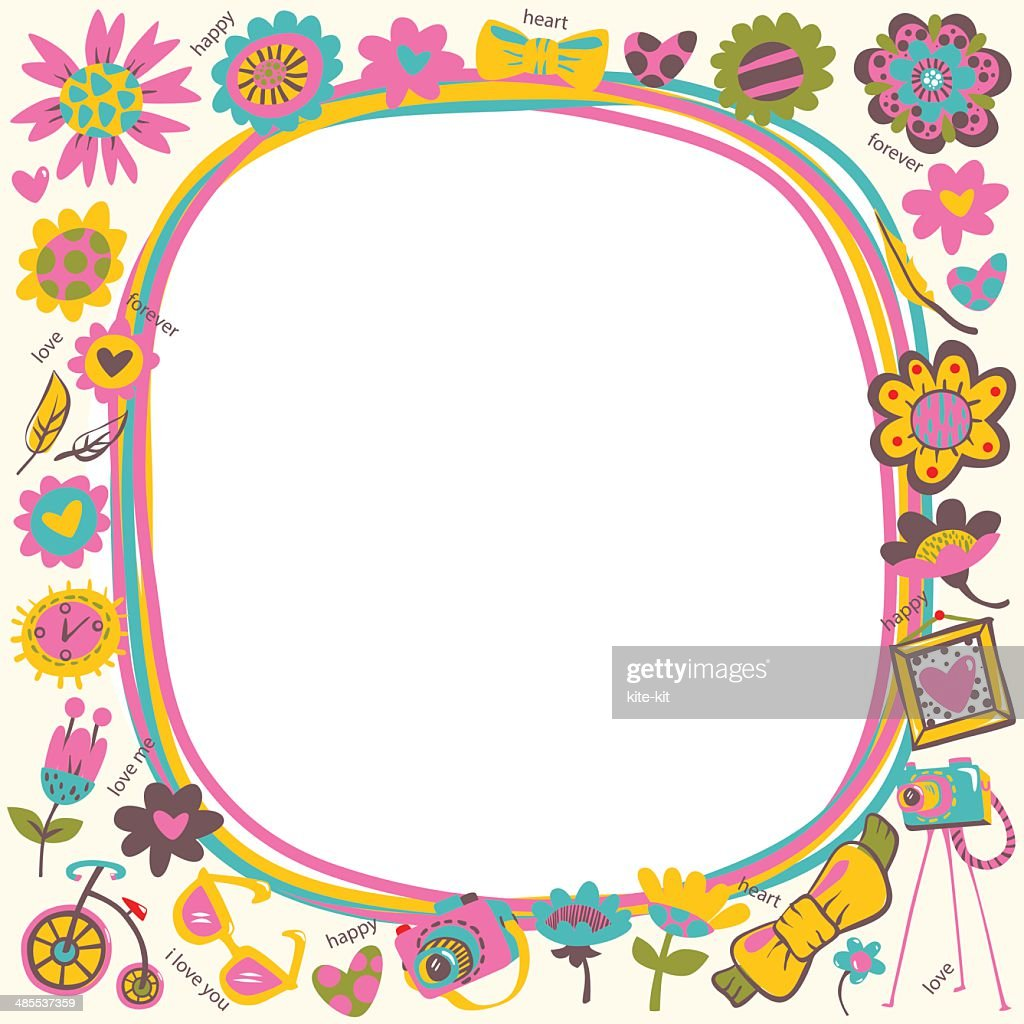 Flower Love Cute Frame With Fashionable Things Light Background ...