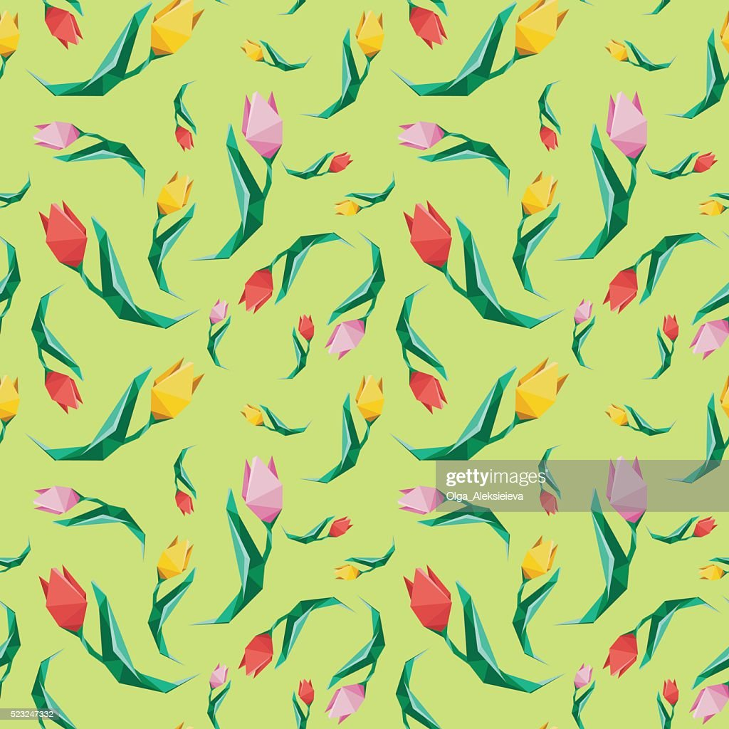 Flower low poly concept illustration. Tulip seamless pattern.