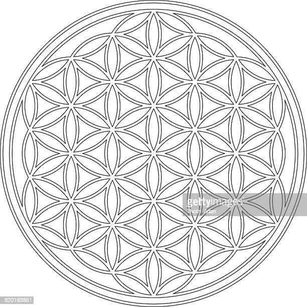 illustrations, cliparts, dessins animés et icônes de dessin de fleur de vie - chakra