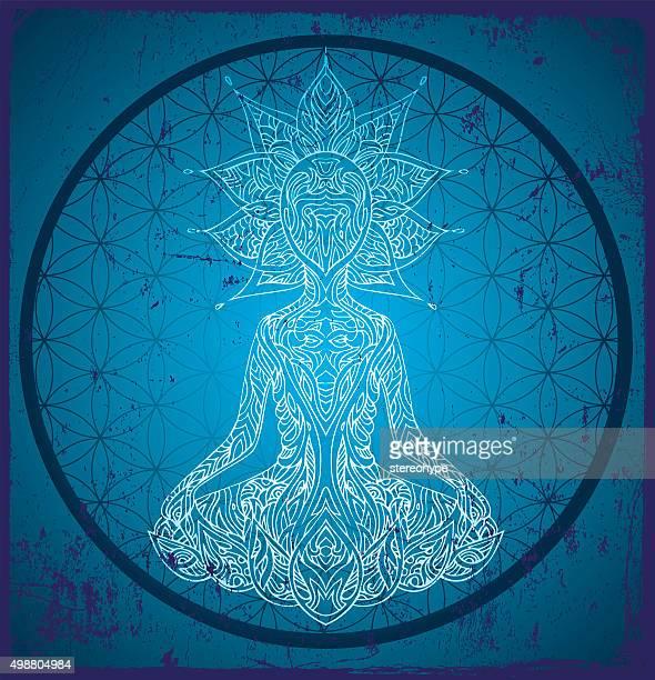illustrations, cliparts, dessins animés et icônes de fleur de vie de méditation - chakra