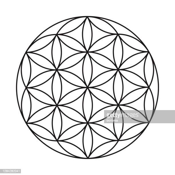 flower of life sacred geometry icon on transparent background - new life stock illustrations