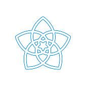 Flower of Love known as Venus Flower vector symbol. A five-petaled rose of Venus icon.