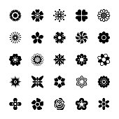 Flower Pattern and Designs Solid Icons