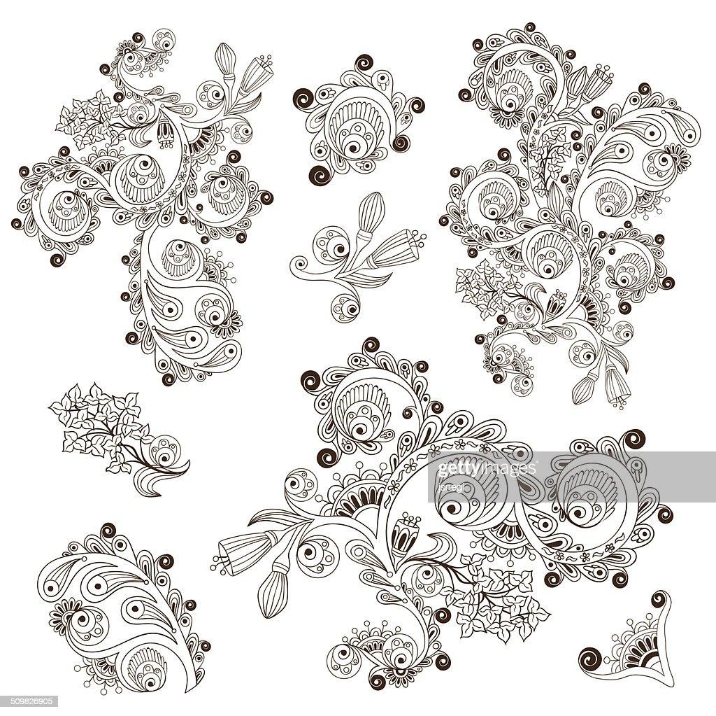 Flower pattern engraving scroll motif for card