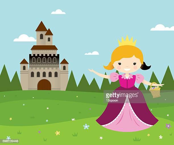 flower picking princess - princess stock illustrations, clip art, cartoons, & icons