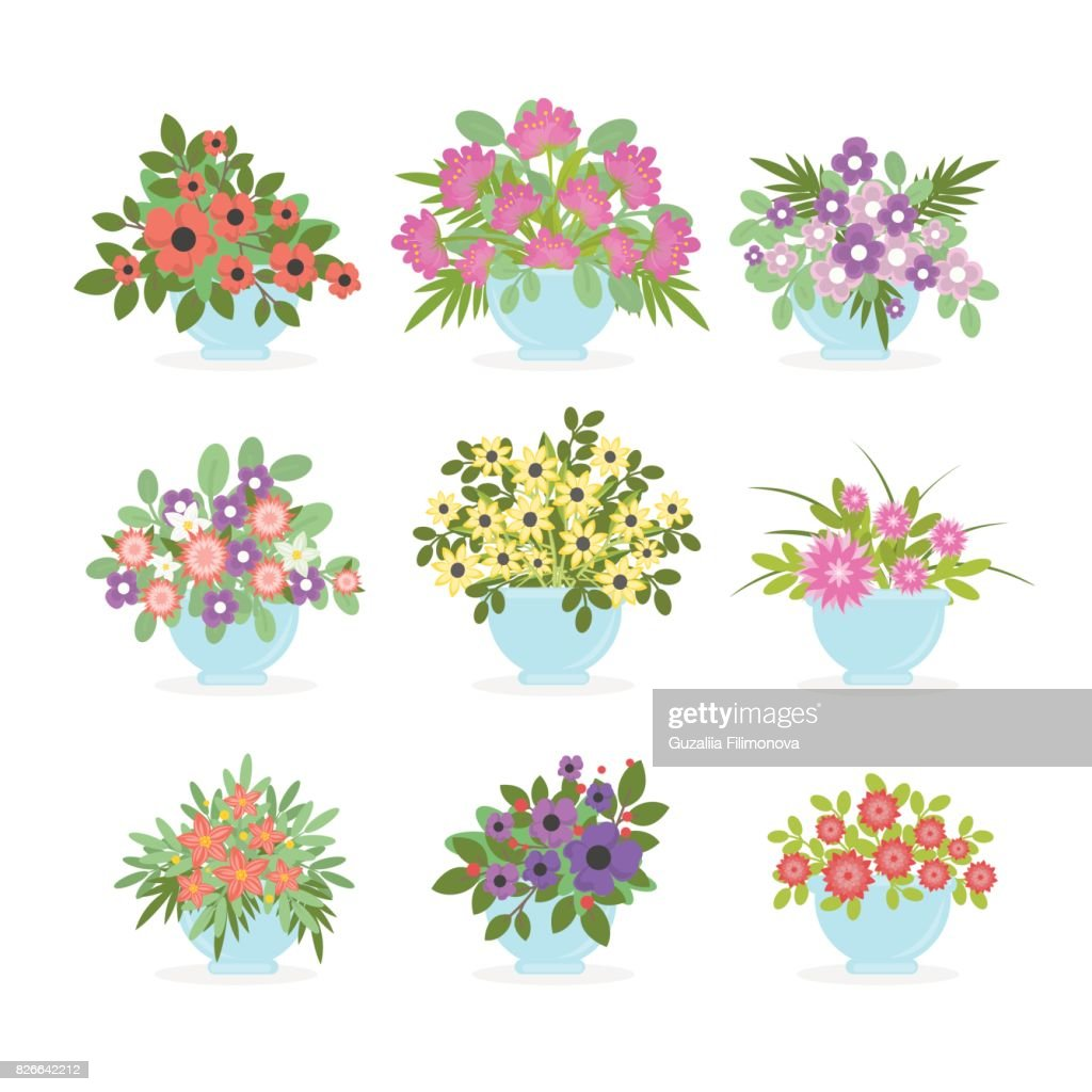 Flower pots set on white background.