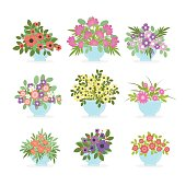 Flower pots set on white background.