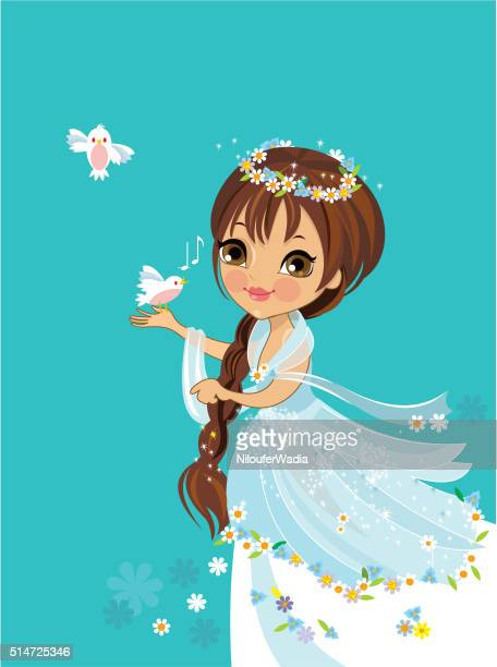 flower princess - princess stock illustrations, clip art, cartoons, & icons