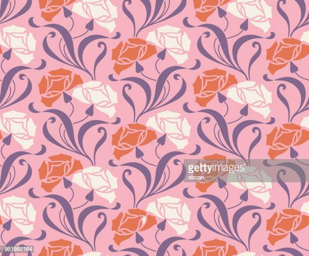 flower seamless pattern - art déco style - art and craft stock illustrations