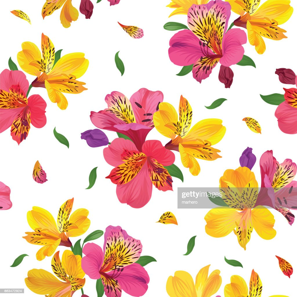 Flower seamless pattern with beautiful alstroemeria lily flowers on white background template.