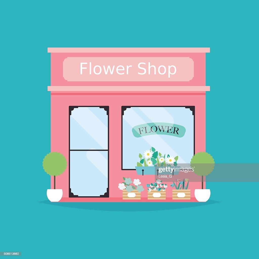 Flower shop facade. Vector illustration of flower shop building.