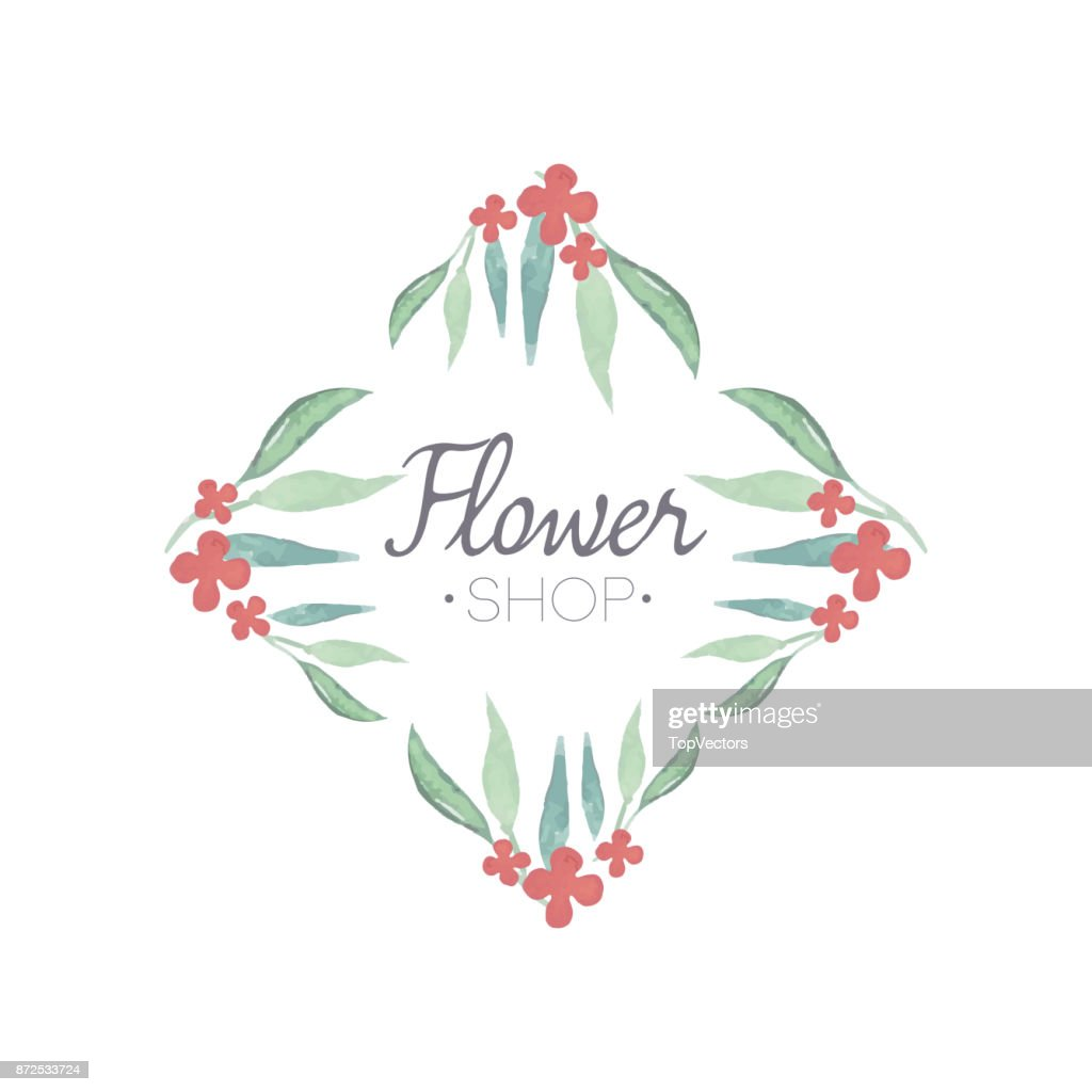 Flower Shop Green And Pink Colorful Logo Template Floral Geometrical