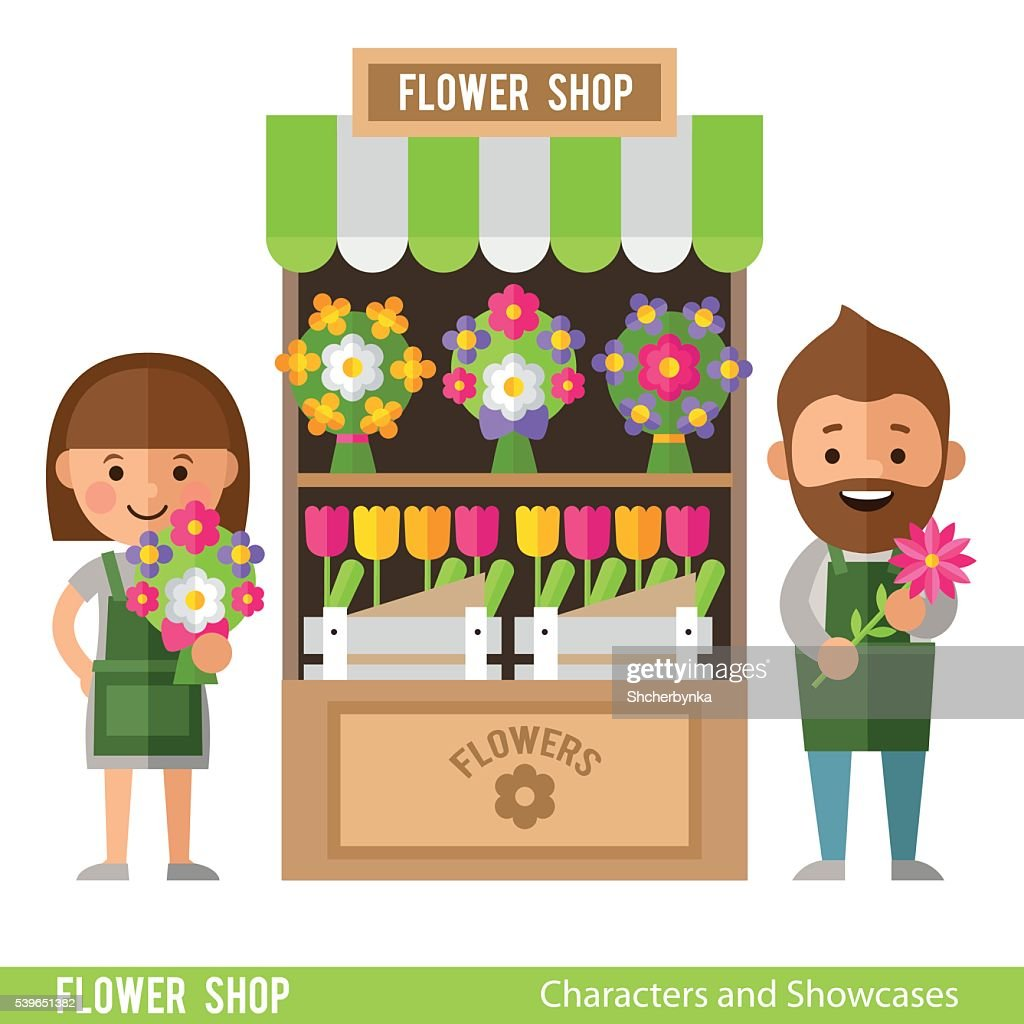 Flower Showcases and florists in a flat style.