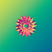 flower sign logo. sun shine ornament. 3d style green blue object on white background. Vector template.