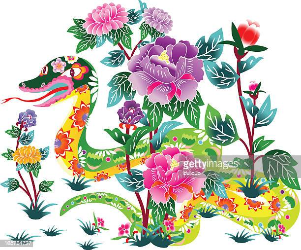flower snake - chinese zodiac sign stock illustrations, clip art, cartoons, & icons