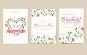 Flower theme for the design of gift flyers. The best cards for a wedding or birthday. Template for decorating of an invitation to flower shop.