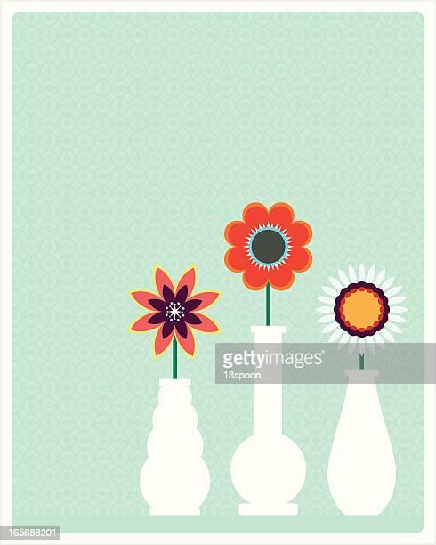 flower vase trio - vase stock illustrations, clip art, cartoons, & icons