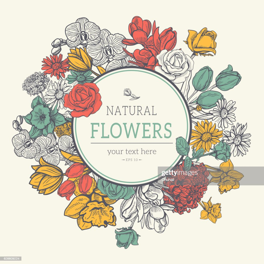 Flower vintage styled sketch background.