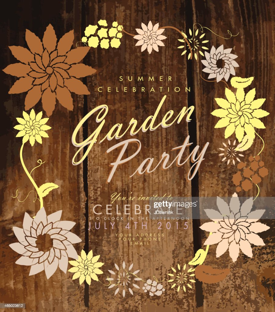 Flower Wreath And Wood Garden Party Invitation Design Template ...