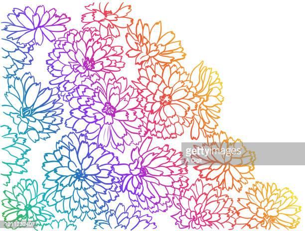 ilustraciones, imágenes clip art, dibujos animados e iconos de stock de flowerbed closeup rainbow - olores agradables