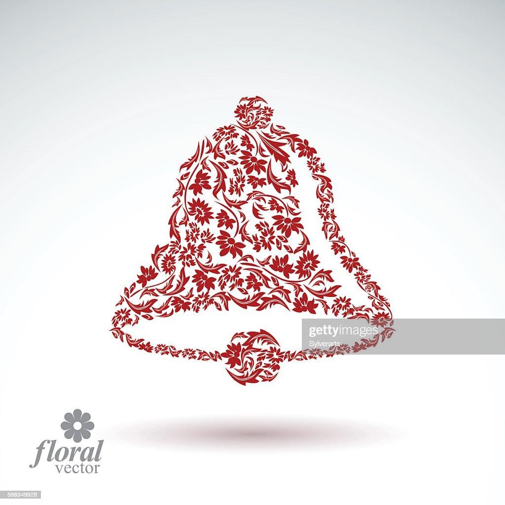 Flower-patterned hand bell. Celebration theme stylized floral vector illustration