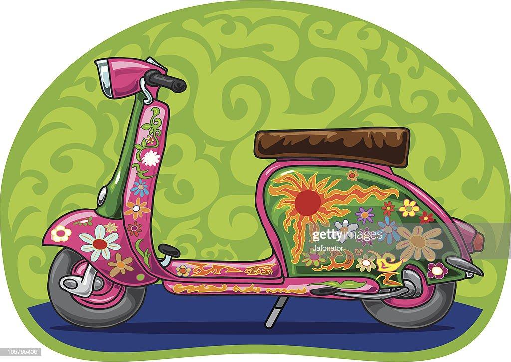 Flowerpower vespa scooter