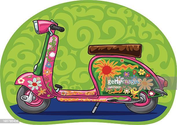 flowerpower vespa scooter - vespa stock illustrations, clip art, cartoons, & icons