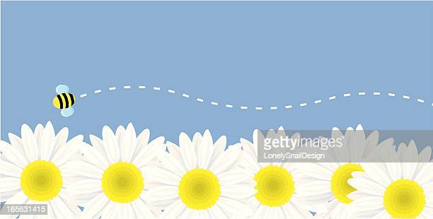 flowers and bee - bumblebee stock illustrations, clip art, cartoons, & icons
