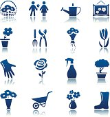Flowers and gardening icon set