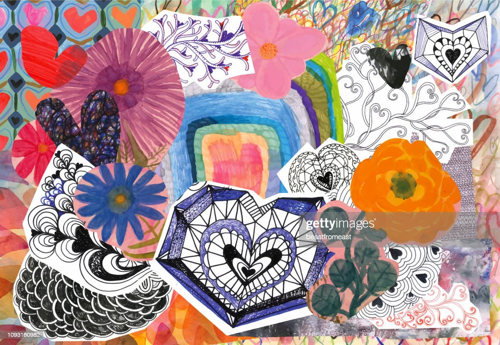 Flowers and hearts collage : stock illustration