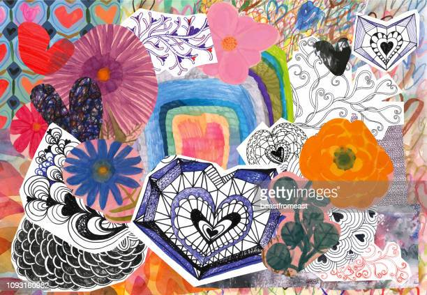 flowers and hearts collage - painted image stock illustrations
