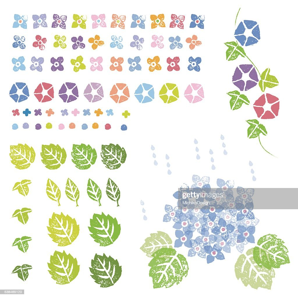 Flowers and leaves graphic elements