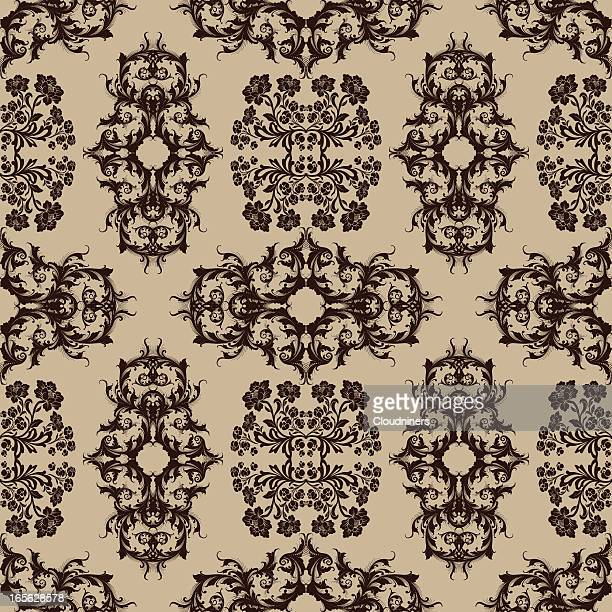 Flowers and Scroll Wallpaper - Seamless