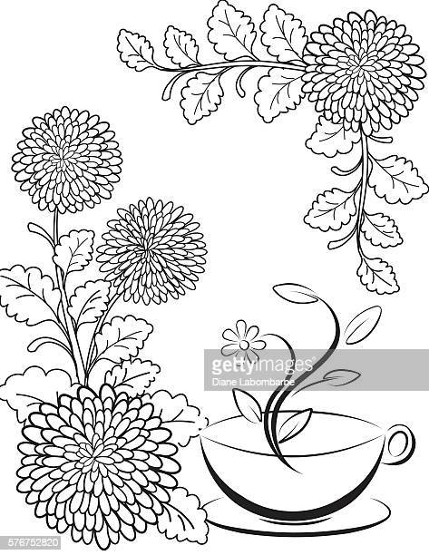 Flowers and Tea Adult Coloring Page.
