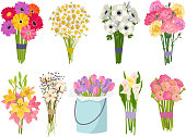 Flowers brunch bouquet set collection flat floral vector garden vector illustration