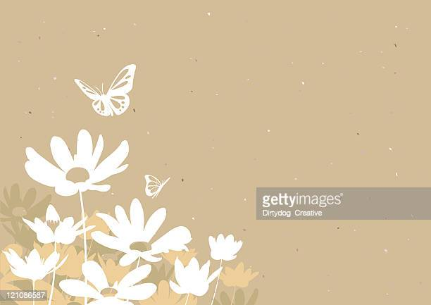 flowers & butterflies - daisy stock illustrations, clip art, cartoons, & icons
