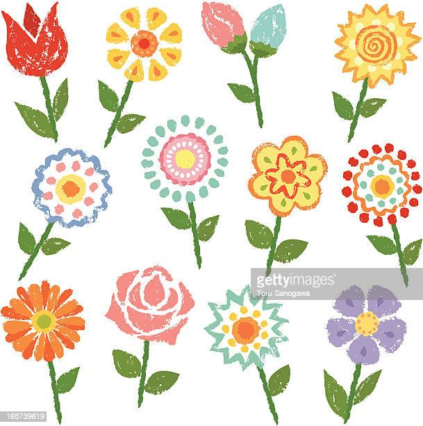 flowers by hand-drawn - gerbera daisy stock illustrations, clip art, cartoons, & icons