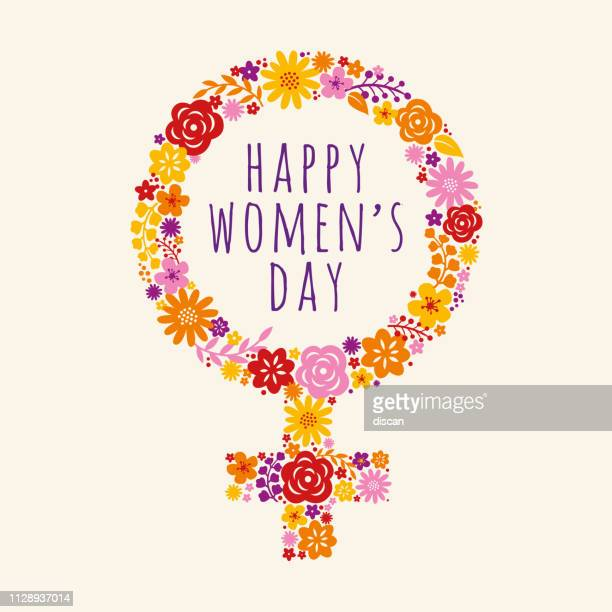 flowers decorated female symbol for international womens day celebration. vector illustration. - international womens day stock illustrations