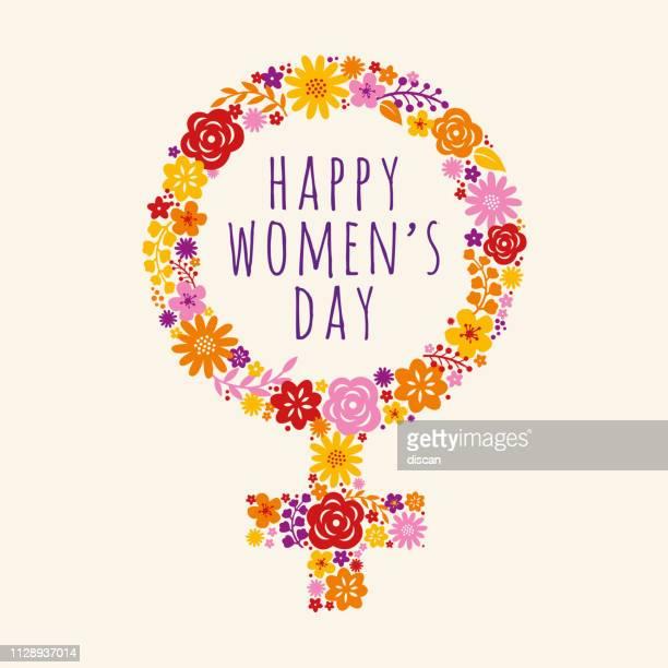 blumen geschmückt weibliche symbol für international womens day feier. vektor-illustration. - weiblichkeit stock-grafiken, -clipart, -cartoons und -symbole