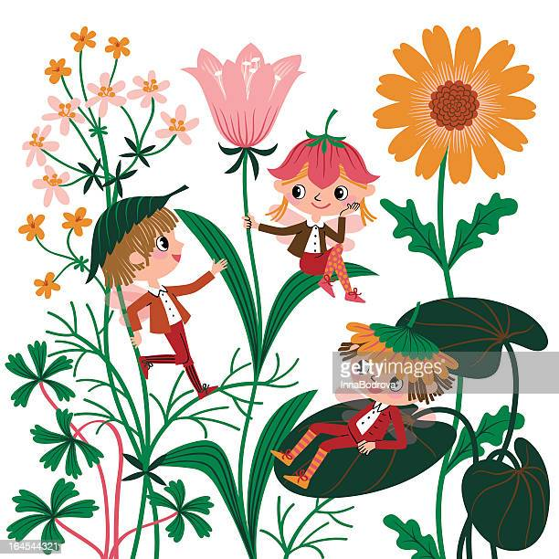 flowers elves. - ranunculus stock illustrations, clip art, cartoons, & icons