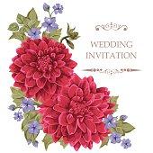 Flowers for wedding invitation card